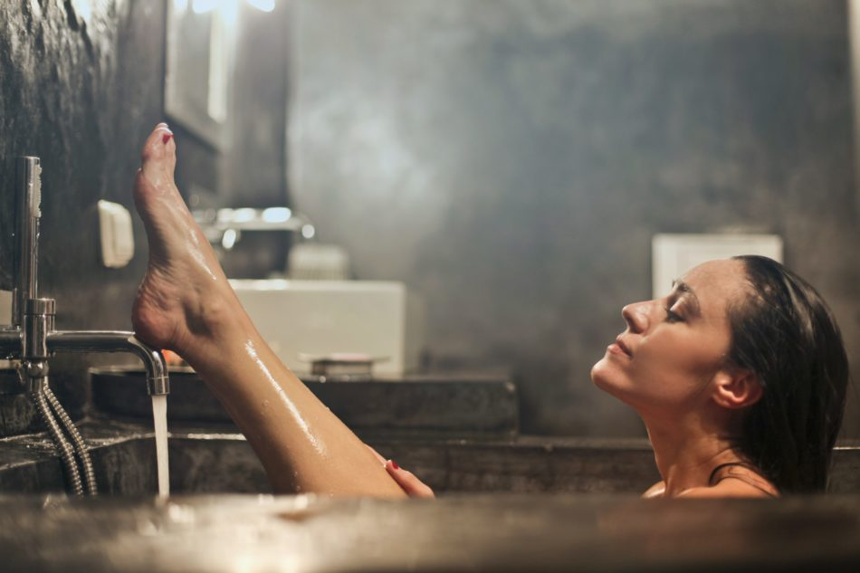 Person in a steamy bath