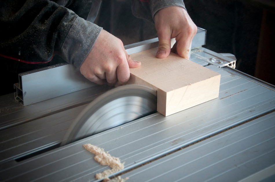 A circular saw cutting wood
