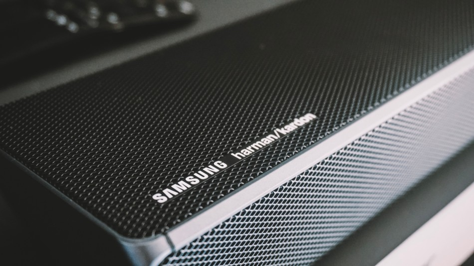 A close-up of a Samsung soundbar
